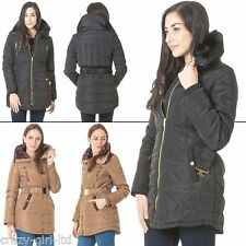 Womens Brave Soul Italian Jacket Elasticated Long Padded Coat Quilted Zip Belted