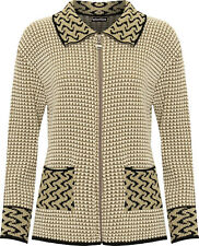 New Women's Long Sleeve Leopard Collar Full Front Zip Knitted 2 Pockets Cardigan