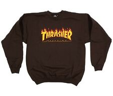 THRASHER MAGAZINE FLAME LOGO CREWSWEAT BROWN