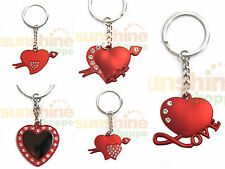 Valentine Birthday Anniversary Gifts Keychain Ring Red METAL Love You Heart