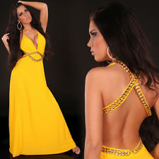 Top Women Maxi Dress Ladies Party Backless Gold Chain Long Blouse Size 6 8 10 12
