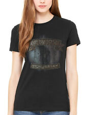 Official Bon Jovi New Jersey Women's T-Shirt Circle Lost Highway Bounce Slippery