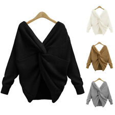 Autumn Women' s Casual Knitted Sweater Jumper Knitwear Plain Tops Pullover Tops