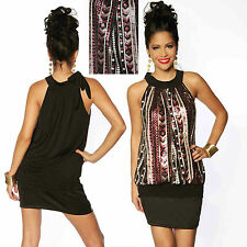 Top Women Clubbing Mini Dress Ladies Party Halterneck Sequins Blouse Size 6 8 10