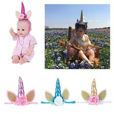 Cute Unicorn Cat Ears Flower Elastic Baby Kids Girls Hair Band Newborn Headband
