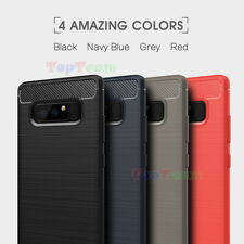 For Samsung Galaxy Note 8 Rugged Brushed Carbon Fiber Soft TPU Case Armor Cover