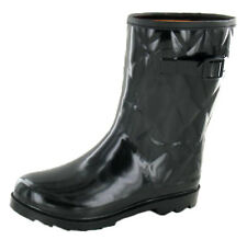 Ladies Funky Festival Quilted Wellies Rainy Snow Black Wellington Boots Size 3-8