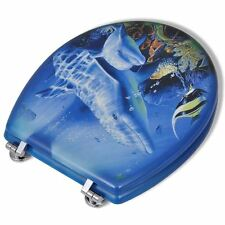 """18"""" WOODEN MDF DOLPHIN SEA DESIGN STYLISH TOILET LID SEAT CHROME FITTINGS"""
