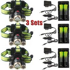 3X Rechargeable Headlamp Camping 20000LM  T6 LED Light Headlight+18650+Char