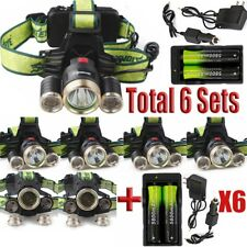 6Sets Rechargeable Headlamp 20000LM  XML-T6 LED Camping Lamp+18650+Charger