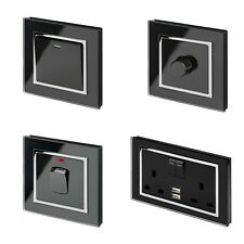 RetroTouch Black Glass CT Light Switches, Plug Sockets, Dimmers, Cooker, Fused