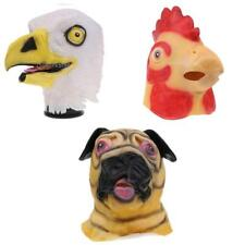 Latex Full Head Animal Head Mask Pug Dog Rooster Chiken Eagle Halloween Costume