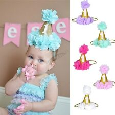 Cute Baby Girl 1st Birthday Party Flower Princess Crown Hat Headband Photo Props