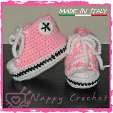 CROCHET BABY SHOES SCARPINE BIMBA A UNCINETTO SNEAKERS CONVERSE ALL STAR ROSA