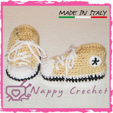 SCARPINE NEONATO UNCINETTO BABY BOOTIES CROCHET BEIGE CONVERSE ALL STAR TENNIS