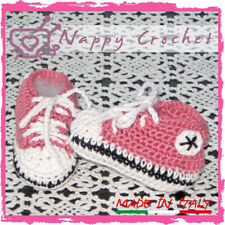 SCARPINE NEONATO UNCINETTO BABY BOOTIES CROCHET PRUGNA CONVERSE ALL STAR TENNIS