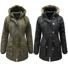 Womens Military Style Parka Coat Ladies Jacket with Faux Fur Hood PLUS SIZE 8-26