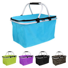 Outdoor Oxford Folding Basket Lunch Picnic Food Insulated Cooler Camping Bag