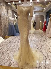Luxury Gold Mermaid Beaded Crystal Evening Gown, Delivery In About 28 Days.