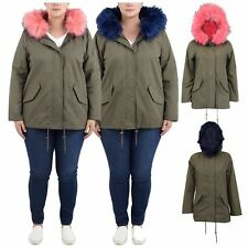 Womens Long Sleeve Fur Hooded Sherpa Fleece Lining Parka Winter Coat Jackets8-24