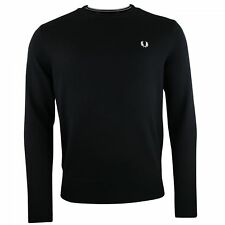 Fred Perry Pull noir laine Merinos col rond K7211