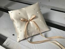 Champagne Ivory White Wedding Ring Cushion Bearer Pillow Scattered Pearls