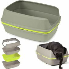 Cat Grey Scoopless Litter Tray Large or Jumbo Sifting Toilet Box High Sided