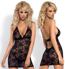 OBSESSIVE Catia Luxury Super Soft Halterneck Lace Chemise and Matching Thong Set