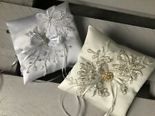 FAB Bridal Wedding Ring Cushion Pillow Bearer Lace GLAM White Ivory Champagne