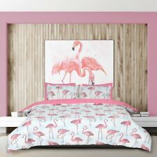 Flamingo Stripe Pink Quilt Duvet Cover Bedding Set with Pillow Cases All Sizes