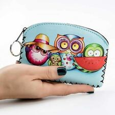 New Girls Cute Owl Purse Cartoon Wallet Keyring Ladies Coin Purse