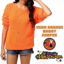 Halloween Ladies Fancy Chunky Knitted Baggy Jumper Oversized Top Spooky Sweater