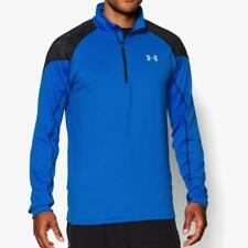 New Under Armour Mens Coldgear Infrared Chrome 1/2 zip top Sz S-XL Blue pullover