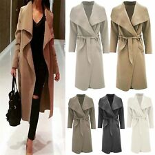 Womens Waterfall Belted Italian Drape Long Trench Coat Ladies Blazer Jacket 8 24