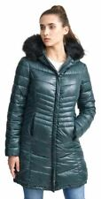 New Womens Quilted Hooded Natural Fur Trim Puffer Jacket Coat 8-16