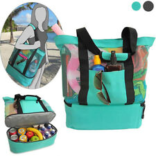 INSULATED COOLER FOOD BAG FOR BEACH CAMPING PICNIC WATERPROOF MESH TOTE WONDROUS