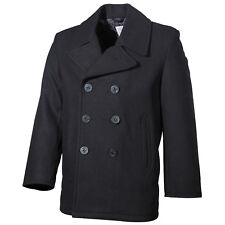 Classic US Navy Style Black Wool Winter Reefer Vintage Pea Coat Jacket Parka