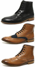 London Brogues Gatsby Mens Leather Wingtip Lace Up Brogues Two Tone Colour Boots