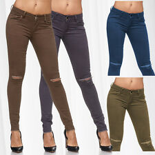 Damen Biker Ripped Jeans Destroyed Sexy Hose Cut Out Stretch Röhre Riss Skinny