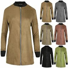 Womens Ladies MA1 Zipper Up Contrast Collared Longline Suede Tunic Jacket Coat