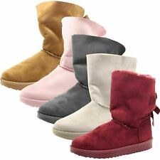Ladies Slip on Slippers Booties Faux Fur line Bow Style Ankle Flat Warm Boots UK