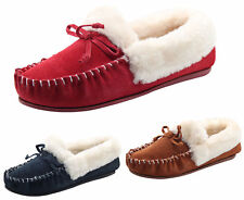 Ladies Moccasins Slippers faux Fur Fluffy Suede Leather Soft Women Slip on Shoes