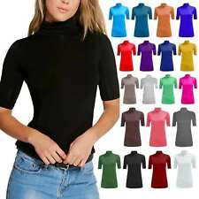 New Women's Short Sleeve Gathered Polo Turtle Neck Ladies T-Shirt Top Plus Size*