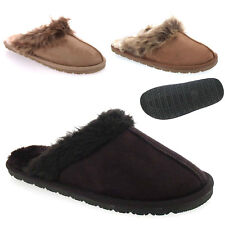 Mens Boys Winter Slippers Warm Fur Lined Hard Sole Mules Christmas Gift 7, 8, 9