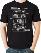 Mustang T Shirt 1964 Blueprint Muscle Car Blue Oval Ford Motor Small to 6XL Tall