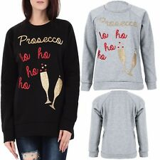Ladies Novelty Xmas Party Celeb Glitter Prosecco HO HO HO Sweatshirt Jumper Top