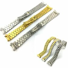 Hot 20mm Stainless Steel Solid Links Wrist Watch Band Strap Bracelet Curved End