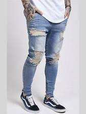 Siksilk ss-12227 magrissime Slim-Fit ELASTICA Jeans Uomo Jeans Strappato Denim