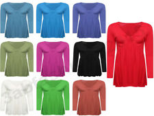 WOMENS LADIES LONG SLEEVE BOW KNOT FRONT RUCHED FLARED SWING TUNIC TOP SIZE 8-26