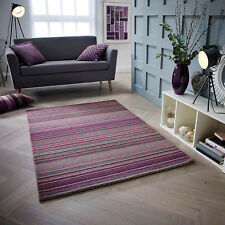 Modern STRIPED Pattern HIGH QUALITY 100% WOOL Purple  Rug & Runner 20% OFF